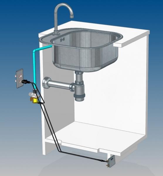 Esse pedal é fixado no rodapé do gabinete, é bivolt. Com uma leve pressão, ele abre a válvula que dá passagem para a água. Nesse caso, também pode ser utilizada a torneira que já está instalada no local.